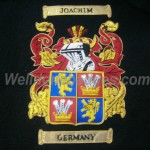 Joachim Germany Family crest coat of arms - Beautiful hand Embroidered Family coat of arms with gold bullion wire