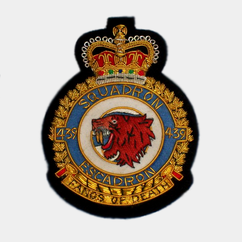 439 Fighter Bomber Squadron Blazer badge - Canadian Air Force Bullion wire crest