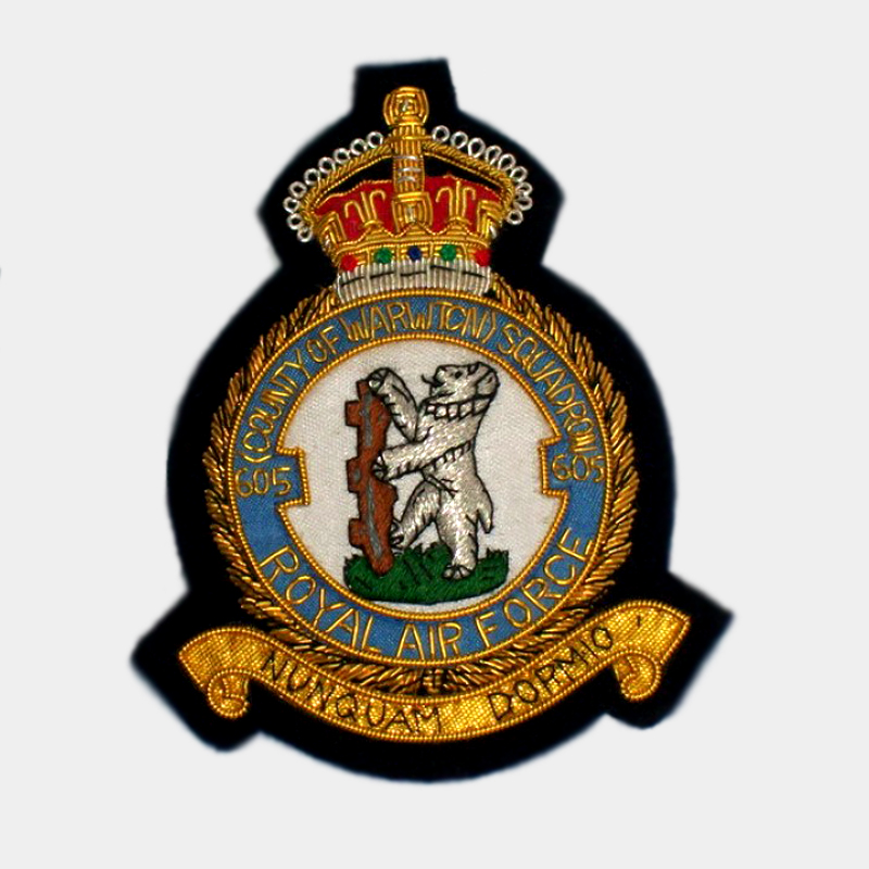 605 Squadron Badge badges bullion wire crest patches