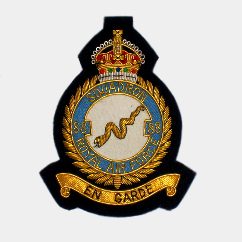 88 Squadron Embroidered bullion wire crest badges