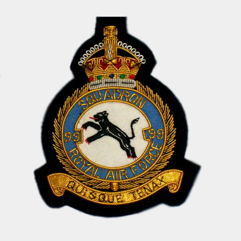 99 Squadron Blazer Badge - 99 Squadron Royal Air Force bullion crest patches