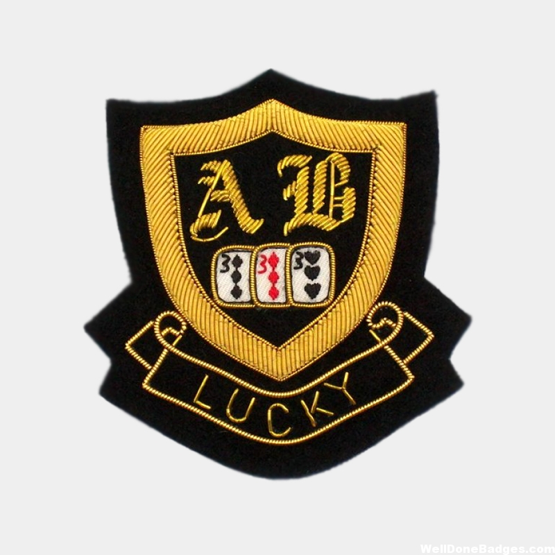 AB LuCK Shield Embroidery bullion wire Blazer Badges