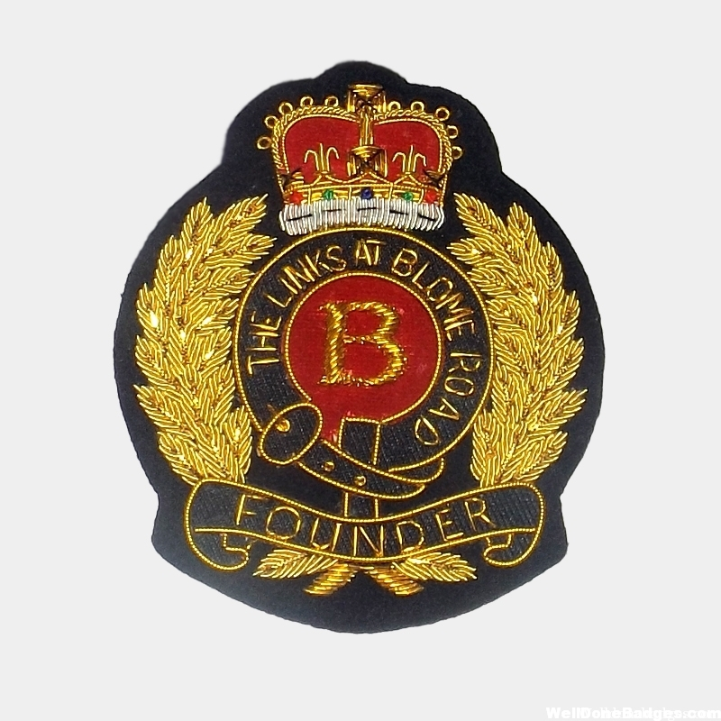 Founder Blazer Patches Bullion wire crown badge