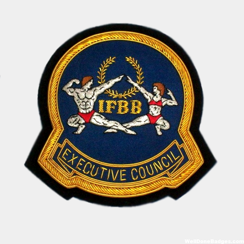 IFBB - Executive council Blazer Badges - custom made embroidered golf bullion wire