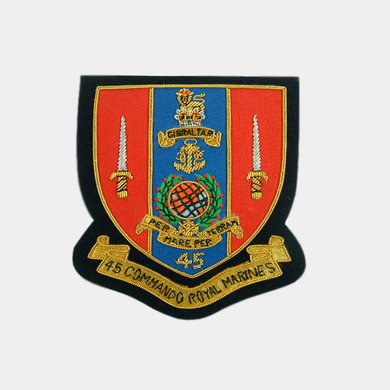 RM Royal Marine 45 Commando Embroidered blazer badges