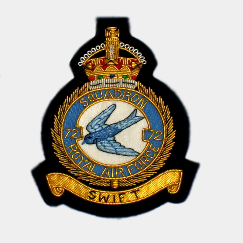 SWIFT 72 - 72 Sqn RAF blazer Badge gold bullion wire patch